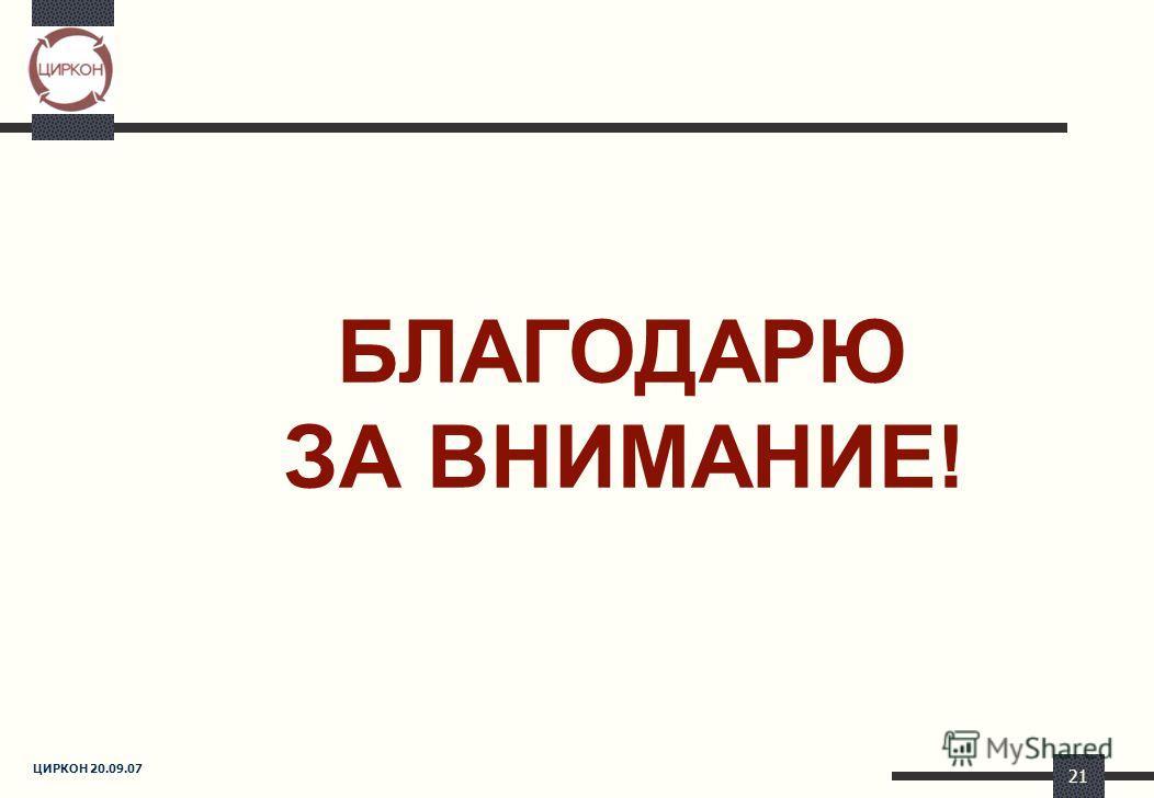 ЦИРКОН 20.09.07 21 БЛАГОДАРЮ ЗА ВНИМАНИЕ!