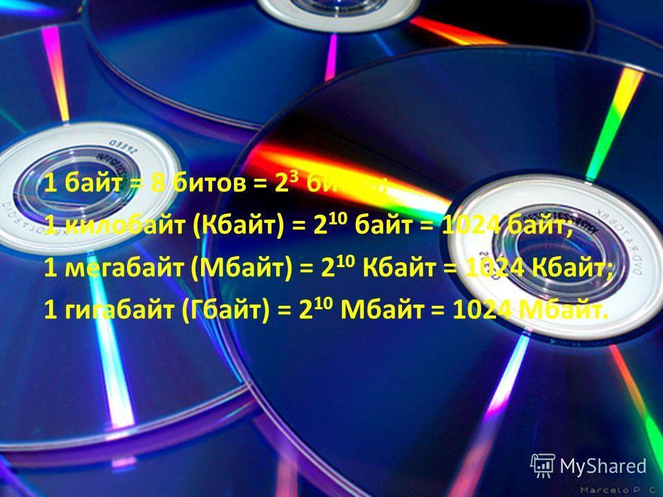 1 байт = 8 битов = 2 3 битов; 1 килобайт (Кбайт) = 2 10 байт = 1024 байт; 1 мегабайт (Мбайт) = 2 10 Кбайт = 1024 Кбайт; 1 гигабайт (Гбайт) = 2 10 Мбайт = 1024 Мбайт.