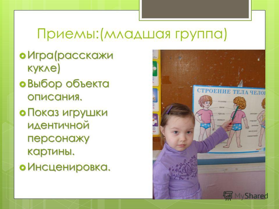 Приемы:(младшая группа) Игра(расскажи кукле) Игра(расскажи кукле) Выбор объекта описания. Выбор объекта описания. Показ игрушки идентичной персонажу картины. Показ игрушки идентичной персонажу картины. Инсценировка. Инсценировка.