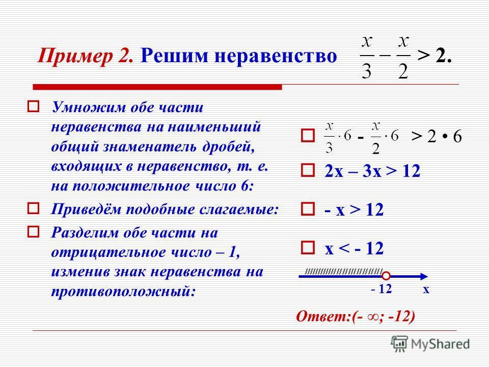 Пример 2. Решим неравенство > 2. У множим обе части неравенства на наименьший общий знаменатель дробей, входящих в неравенство, т. е. на положительное число 6: П риведём подобные слагаемые: Р азделим обе части на отрицательное число – 1, изменив знак