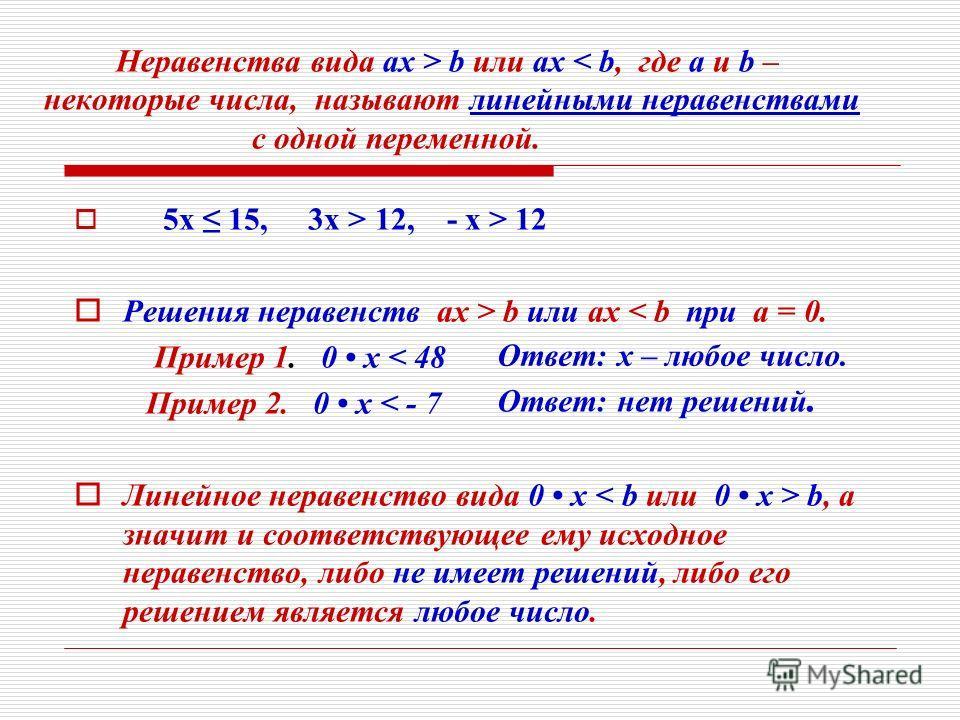 5 х 15, 3 х > 12, - х > 12 Р ешения неравенств ах > b или ах < b при а = 0. Пример 1. 0 х < 48 Пример 2. 0 х < - 7 Л инейное неравенство вида 0 х < b или 0 х > b, а значит и соответствующее ему исходное неравенство, либо не имеет решений, либо его ре