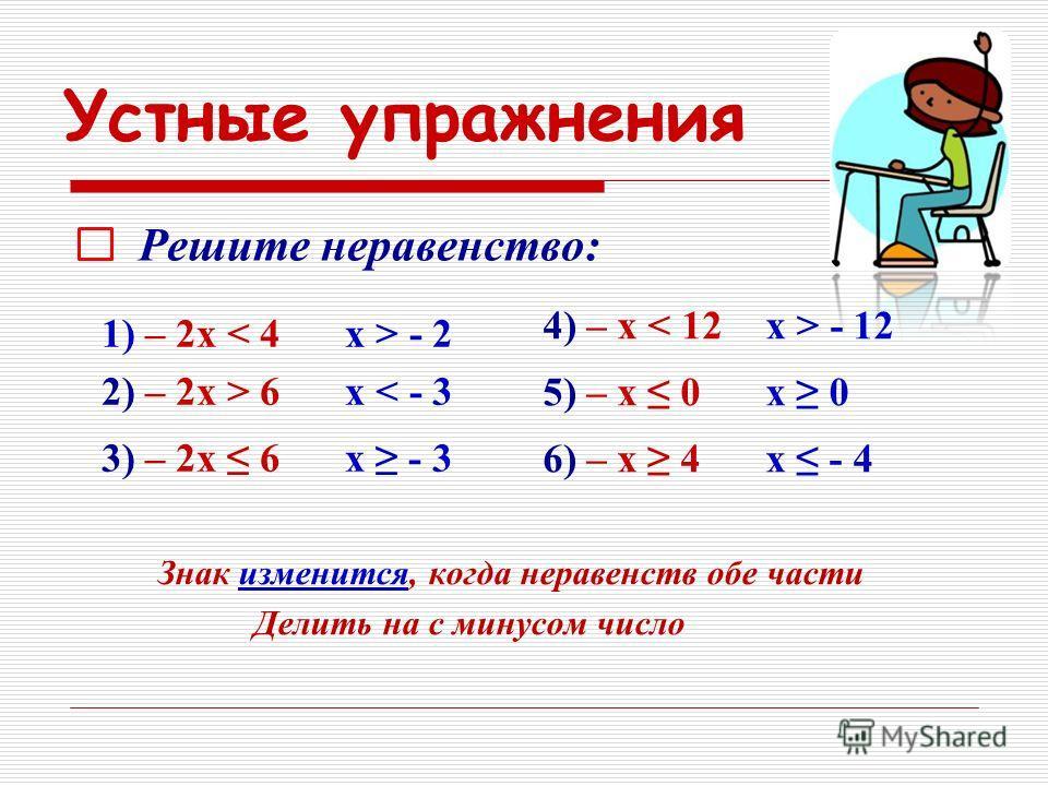 Устные упражнения Знак изменится, когда неравенств обе части Делить на с минусом число 1) – 2 х < 4 2) – 2 х > 6 3) – 2 х 6 Решите неравенство: 4) – х < 12 5) – х 0 6) – х 4 х > - 2 х < - 3 х - 3 х > - 12 х 0 х - 4