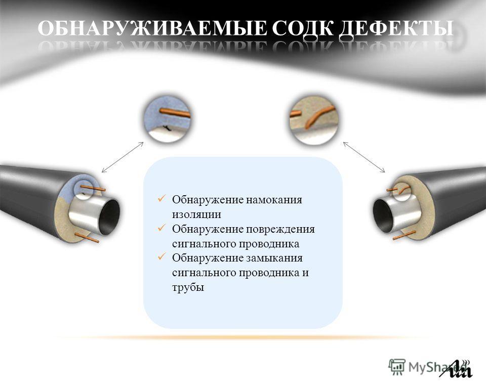 Обнаружение намокания изоляции Обнаружение повреждения сигнального проводника Обнаружение замыкания сигнального проводника и трубы