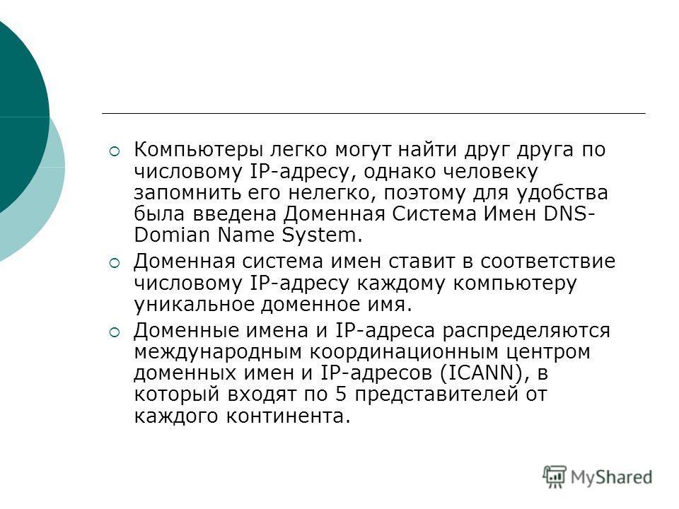 Компьютеры легко могут найти друг друга по числовому IP-адресу, однако человеку запомнить его нелегко, поэтому для удобства была введена Доменная Система Имен DNS- Domian Name System. Доменная система имен ставит в соответствие числовому IP-адресу ка