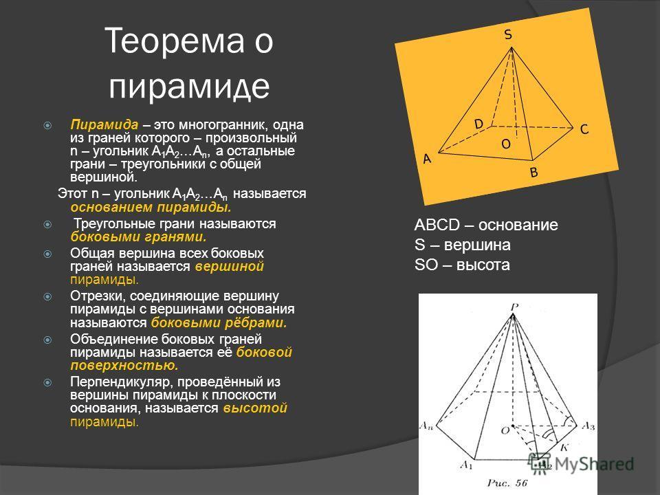 Теорема о пирамиде Пирамида – это многогранник, одна из граней которого – произвольный n – угольник A 1 A 2 …A n, а остальные грани – треугольники с общей вершиной. Этот n – угольник A 1 A 2 …A n называется основанием пирамиды. Треугольные грани назы