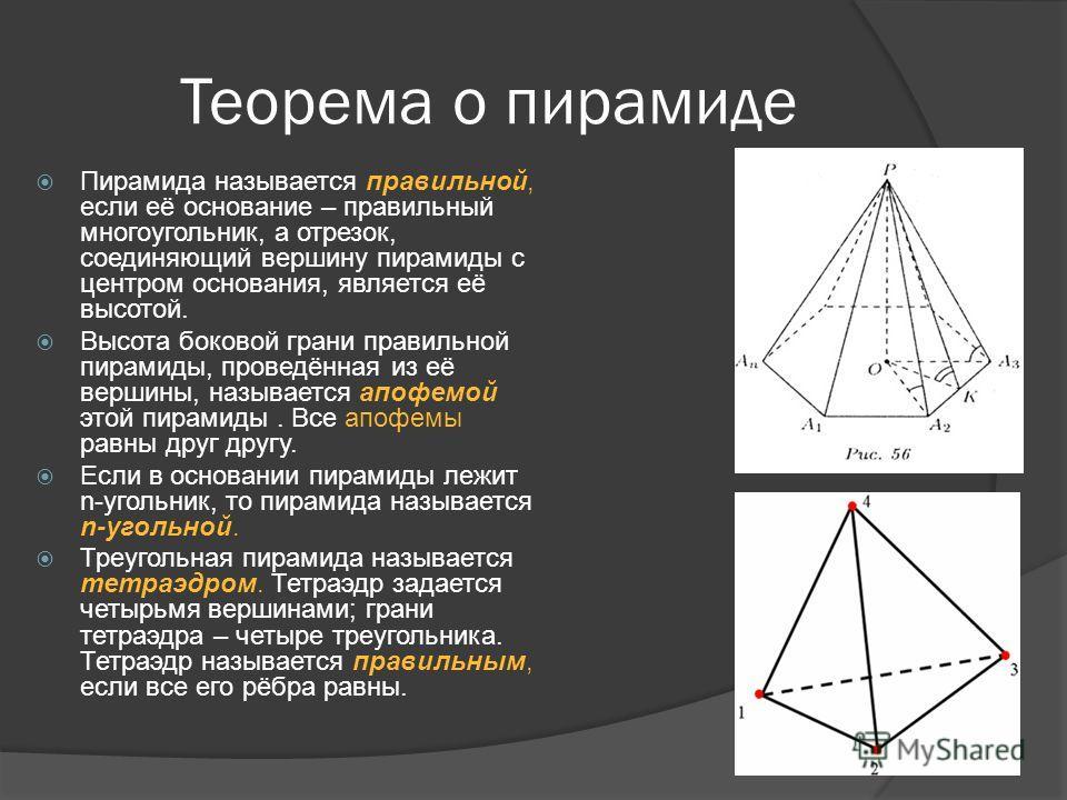 Теорема о пирамиде Пирамида называется правильной, если её основание – правильный многоугольник, а отрезок, соединяющий вершину пирамиды с центром основания, является её высотой. Высота боковой грани правильной пирамиды, проведённая из её вершины, на
