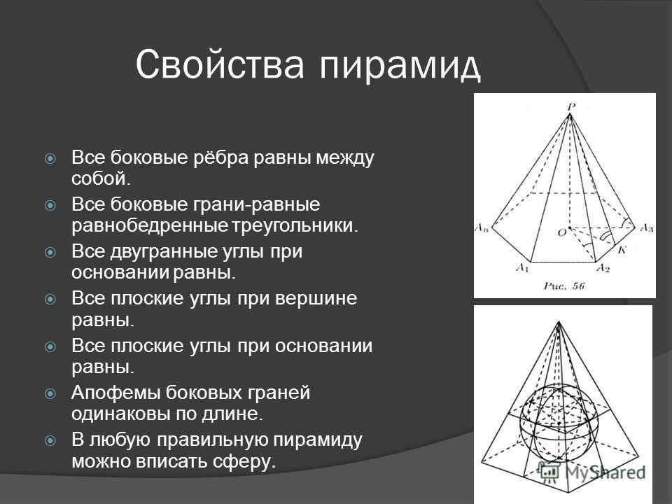 Свойства пирамид Все боковые рёбра равны между собой. Все боковые грани-равные равнобедренные треугольники. Все двугранные углы при основании равны. Все плоские углы при вершине равны. Все плоские углы при основании равны. Апофемы боковых граней один