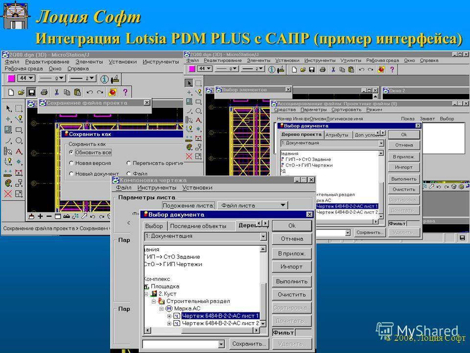 Лоция Софт © 2008, Лоция Софт 34 Интеграция Lotsia PDM PLUS с САПР (пример интерфейса)