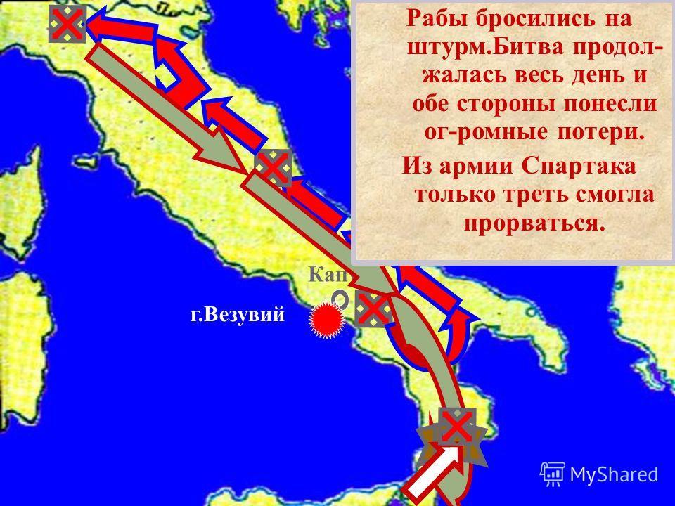 Капуя г.Везувий Рабы бросились на штурм. Битва продол - жалась весь день и обе стороны понесли ог - ромные потери. Из армии Спартака только треть смогла прорваться.