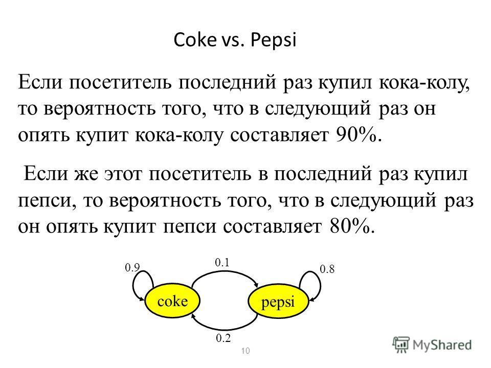 10 Coke vs. Pepsi Если посетитель последний раз купил кока-колу, то вероятность того, что в следующий раз он опять купит кока-колу составляет 90%. Если же этот посетитель в последний раз купил пепси, то вероятность того, что в следующий раз он опять