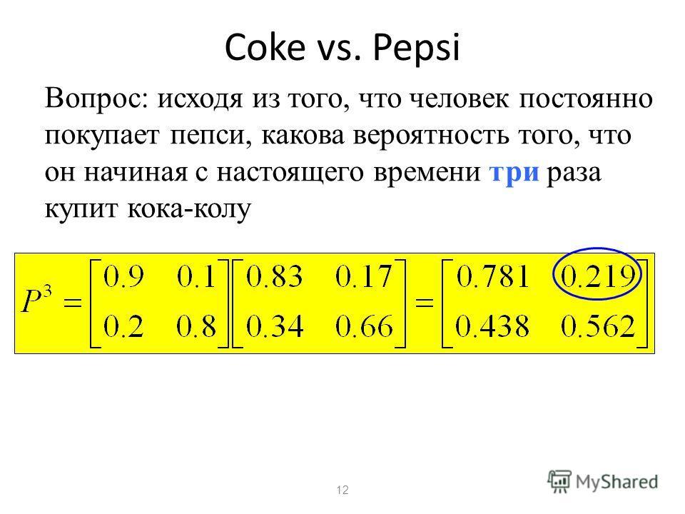12 Coke vs. Pepsi Вопрос: исходя из того, что человек постоянно покупает пепси, какова вероятность того, что он начиная с настоящего времени три раза купит кока-колу