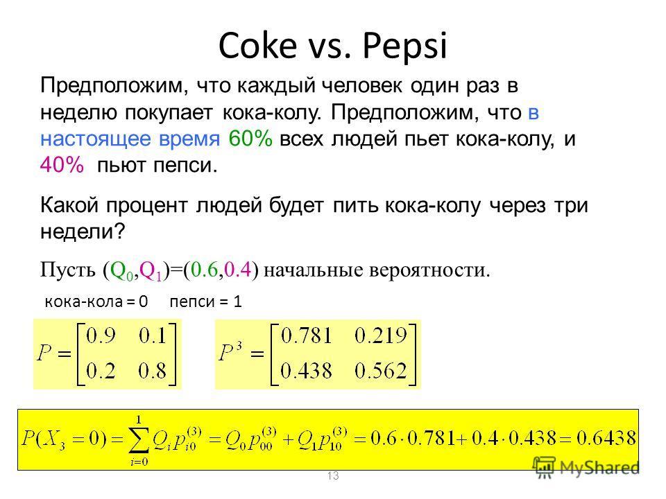 13 Coke vs. Pepsi Предположим, что каждый человек один раз в неделю покупает кока-колу. Предположим, что в настоящее время 60% всех людей пьет кока-колу, и 40% пьют пепси. Какой процент людей будет пить кока-колу через три недели? Пусть (Q 0,Q 1 )=(0