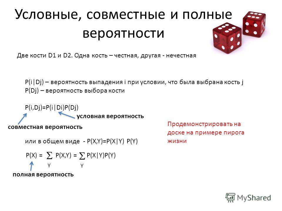 Условные, совместные и полные вероятности Две кости D1 и D2. Одна кость – честная, другая - нечестная P(i Dj) – вероятность выпадения i при условии, что была выбрана кость j P(Dj) – вероятность выбора кости P(i,Dj)=P(i Di)P(Dj) условная вероятность и