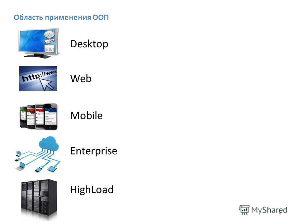 3 Область применения ООП Desktop Web Mobile Enterprise HighLoad