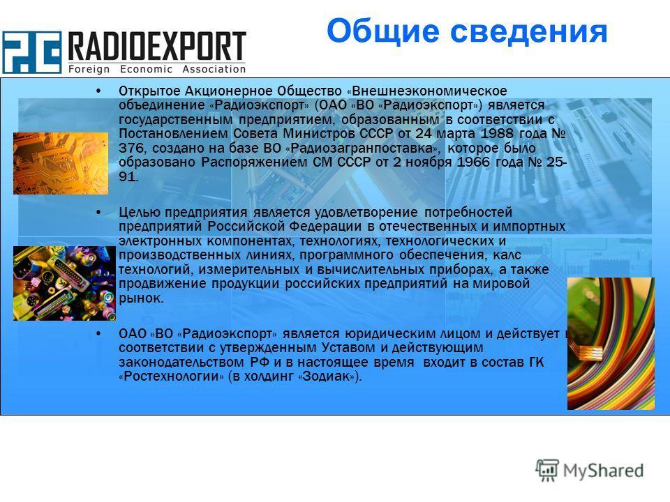 Открытое Акционерное Общество «Внешнеэкономическое объединение «Радиоэкспорт» (ОАО «ВО «Радиоэкспорт») является государственным предприятием, образованным в соответствии с Постановлением Совета Министров СССР от 24 марта 1988 года 376, создано на баз