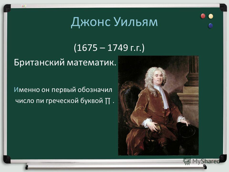 Джонс Уильям (1675 – 1749 г.г.) Британский математик. Именно он первый обозначил число пи греческой буквой.