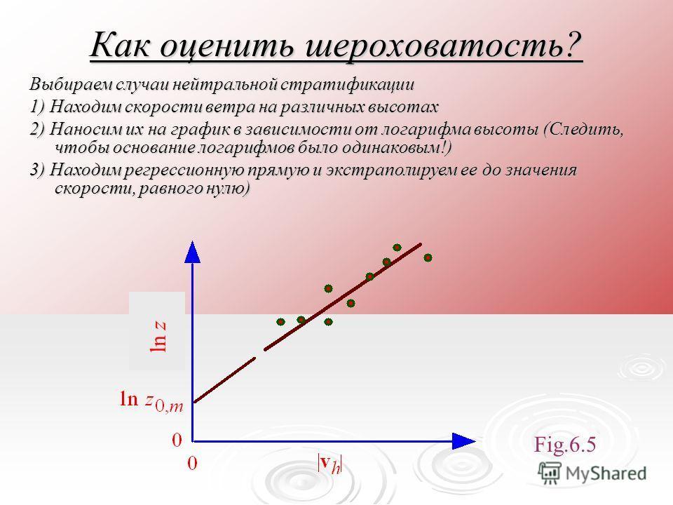 Как оценить шероховатость? Выбираем случаи нейтральной стратификации 1) Находим скорости ветра на различных высотах 2) Наносим их на график в зависимости от логарифма высоты (Следить, чтобы основание логарифмов было одинаковым!) 3) Находим регрессион