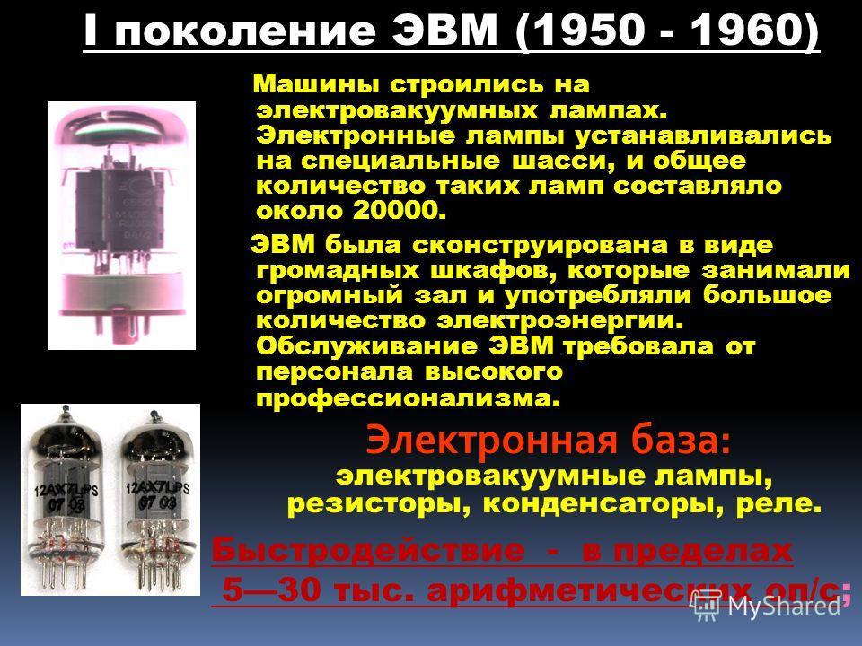 Машины строились на электровакуумных лампах. Электронные лампы устанавливались на специальные шасси, и общее количество таких ламп составляло около 20000. ЭВМ была сконструирована в виде громадных шкафов, которые занимали огромный зал и употребляли б