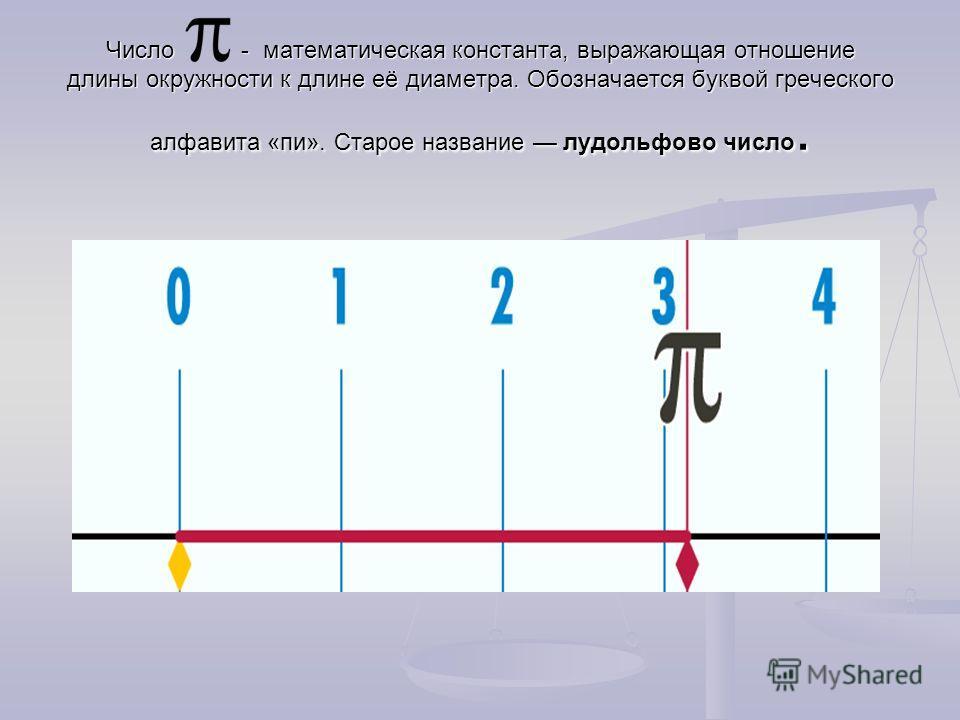 Число - математическая константа, выражающая отношение длины окружности к длине её диаметра. Обозначается буквой греческого алфавита «пи». Старое название лудольфово число.