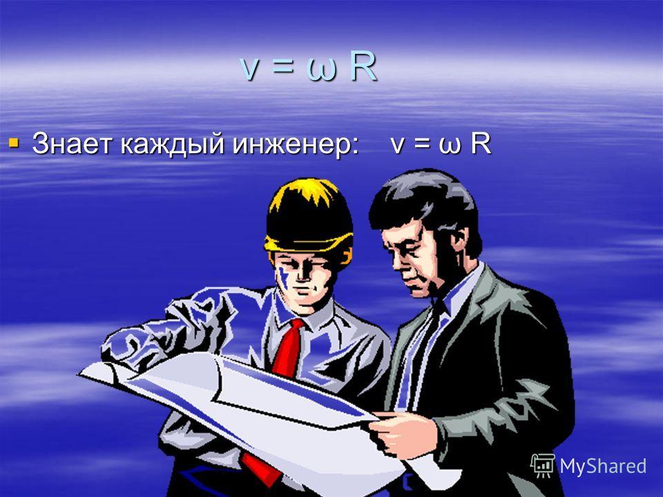 v = ω R Знает каждый инженер: v = ω R Знает каждый инженер: v = ω R