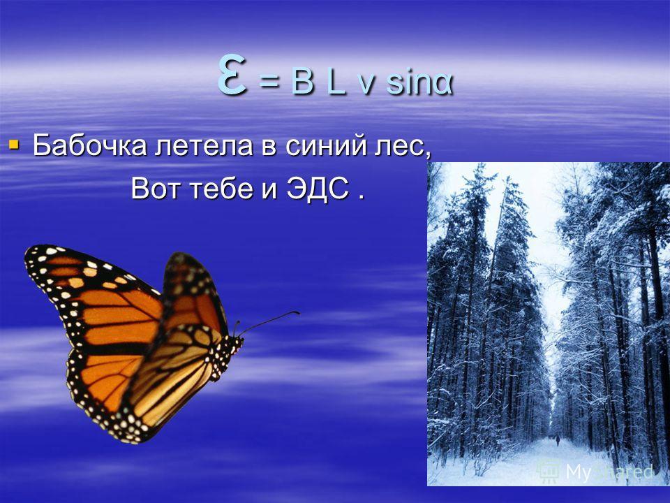 ε = B L v sinα Бабочка летела в синий лес, Бабочка летела в синий лес, Вот тебе и ЭДС. Вот тебе и ЭДС.