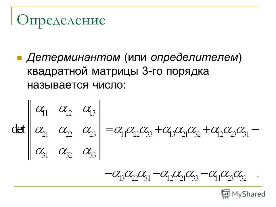 Определение Детерминантом (или определителем) квадратной матрицы 3-го порядка называется число: