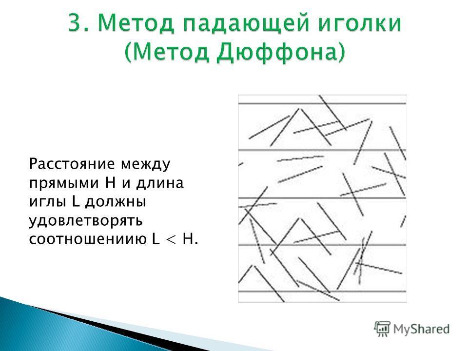 Расстояние между прямыми H и длина иглы L должны удовлетворять соотношениию L < H.