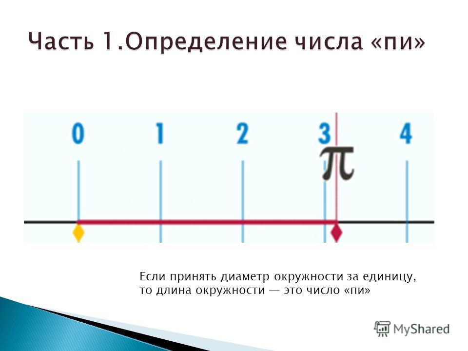 Если принять диаметр окружности за единицу, то длина окружности это число «пи»