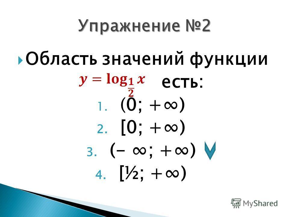 Область значений функции есть: 1. (0; +) 2. [0; +) 3. (- ; +) 4. [½; +)