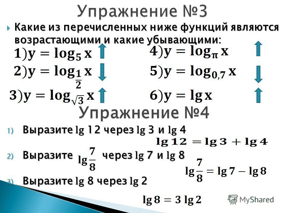 Какие из перечисленных ниже функций являются возрастающими и какие убывающими: Какие из перечисленных ниже функций являются возрастающими и какие убывающими: Упражнение 4 1) Выразите lg 12 через lg 3 и lg 4 2) Выразите через lg 7 и lg 8 3) Выразите l