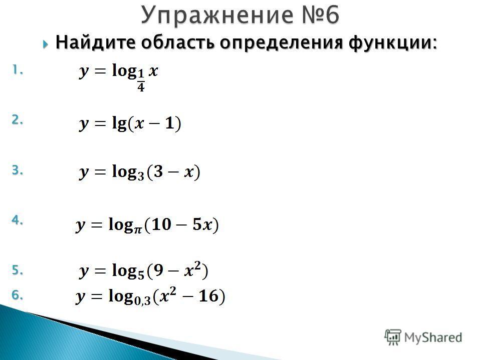 Найдите область определения функции: Найдите область определения функции: 1. 1. 2. 2. 3. 3. 4. 4. 5. 5. 6. 6.