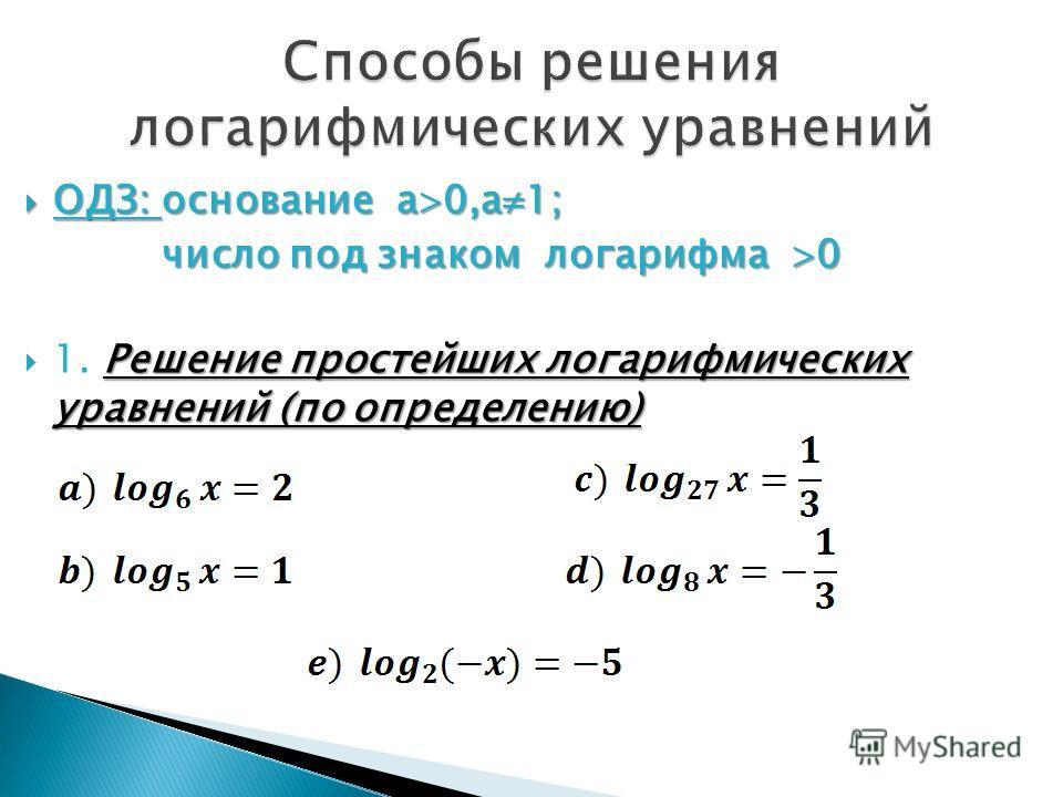 ОДЗ: основание а 0,а 1; ОДЗ: основание а 0,а 1; число под знаком логарифма 0 число под знаком логарифма 0 Решение простейших логарифмических уравнений (по определению) 1. Решение простейших логарифмических уравнений (по определению)