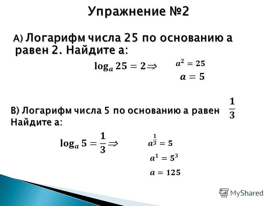 Упражнение 2 А) Логарифм числа 25 по основанию а равен 2. Найдите а: А) Логарифм числа 25 по основанию а равен 2. Найдите а: В) Логарифм числа 5 по основанию а равен Найдите а: