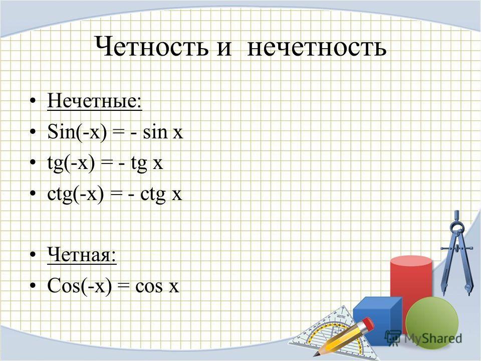 Четность и нечетность Нечетные: Sin(-x) = - sin x tg(-x) = - tg x ctg(-x) = - ctg x Четная: Cos(-x) = cos x