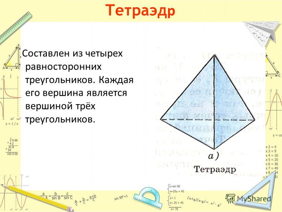 Тетраэд р Составлен из четырех равносторонних треугольников. Каждая его вершина является вершиной трёх треугольников.