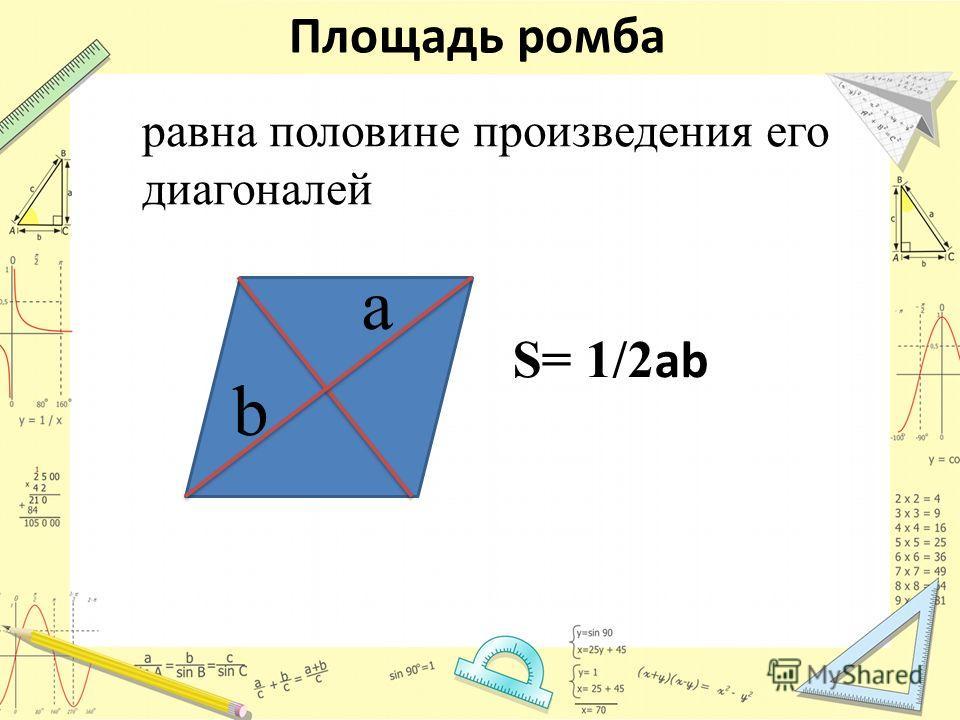 Площадь ромба S= 1/2 ab равна половине произведения его диагоналей a b