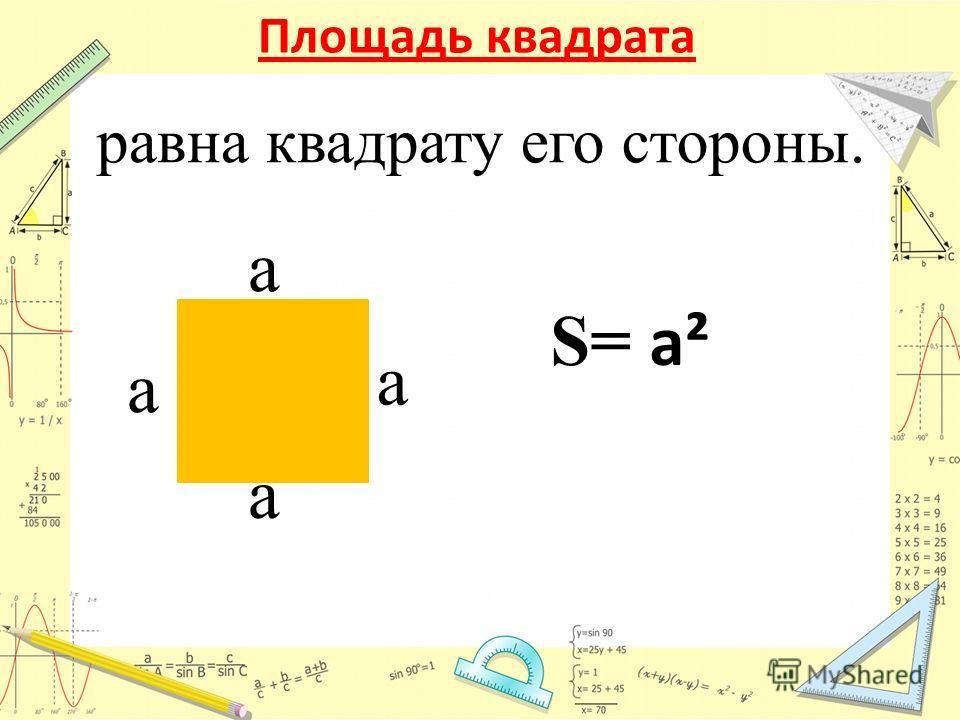 Площадь квадрата a a S= a² a a равна квадрату его стороны.