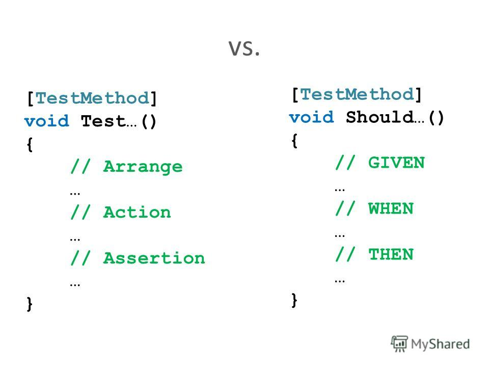 vs. [TestMethod] void Test…() { // Arrange … // Action … // Assertion … } [TestMethod] void Should…() { // GIVEN … // WHEN … // THEN … }