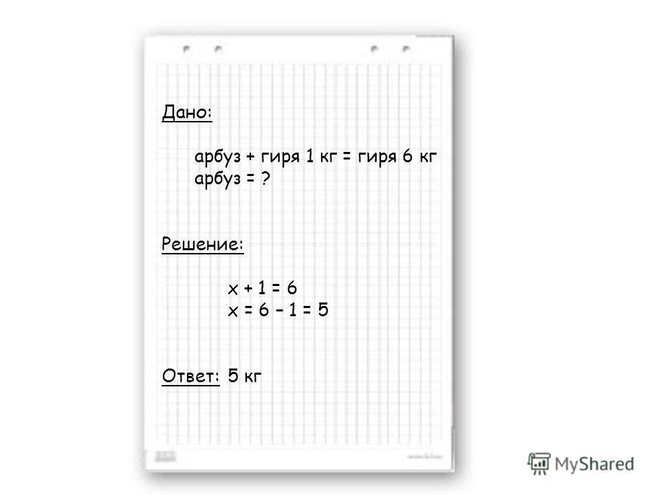 Дано: арбуз + гиря 1 кг = гиря 6 кг арбуз = ? Решение: x + 1 = 6 x = 6 – 1 = 5 Ответ: 5 кг