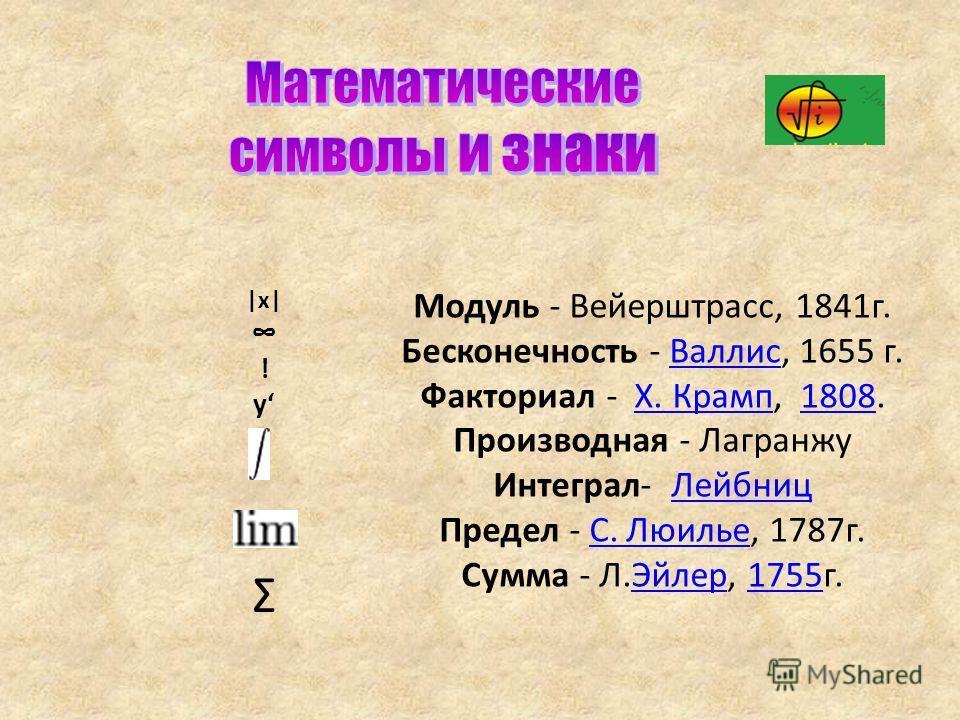 |x| ! y Σ Модуль - Вейерштрасс, 1841 г. Бесконечность - Валлис, 1655 г.Валлис Факториал - Х. Крамп, 1808.Х. Крамп 1808 Производная - Лагранжу Интеграл- Лейбниц Лейбниц Предел - С. Люилье, 1787 г.С. Люилье Сумма - Л.Эйлер, 1755 г.Эйлер 1755