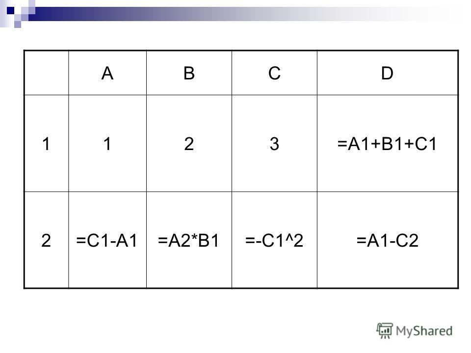 АBCD 1123=A1+B1+C1 2=C1-A1=A2*B1=-C1^2=A1-C2