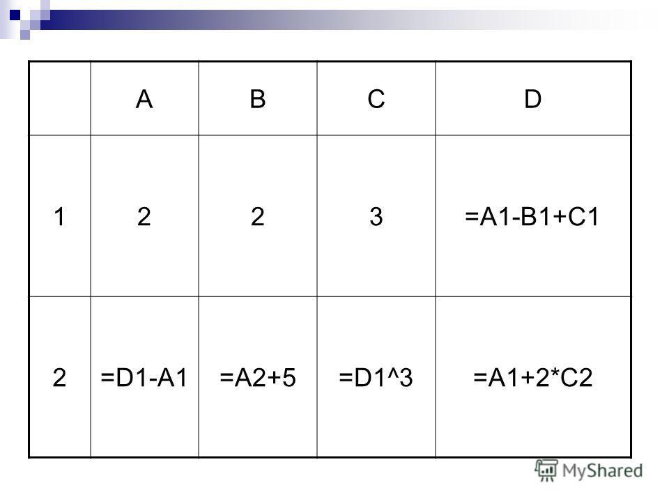 АBCD 1223=A1-B1+C1 2=D1-A1=A2+5=D1^3=A1+2*C2