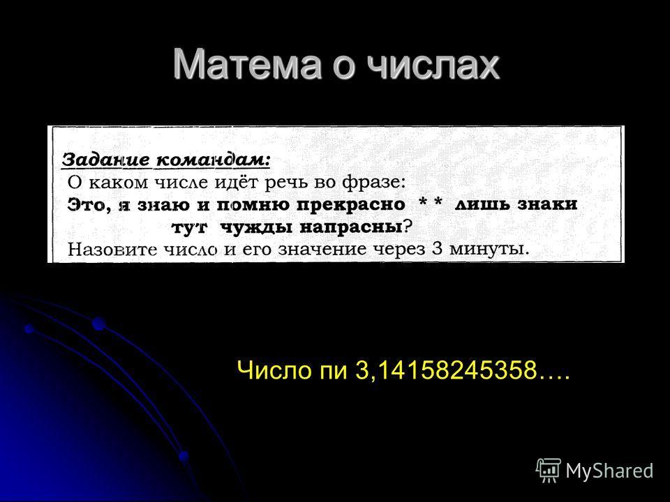Матема о числах Число пи 3,14158245358….