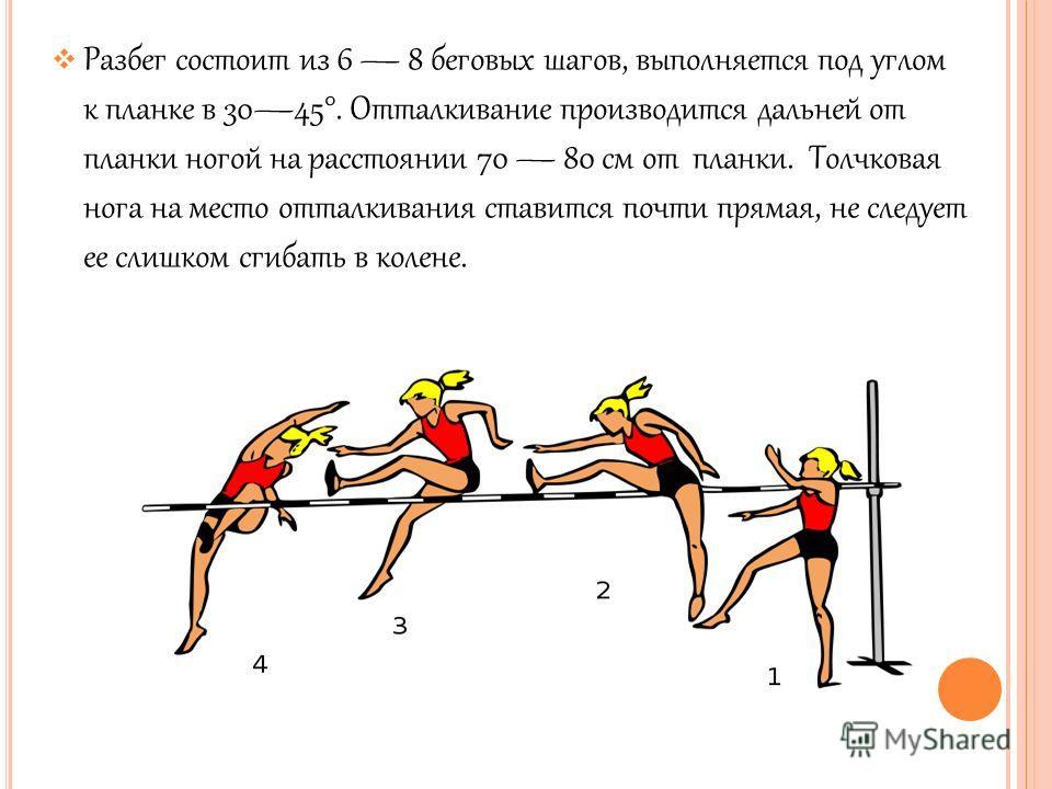Разбег состоит из 6 8 беговых шагов, выполняется под углом к планке в 3045°. Отталкивание производится дальней от планки ногой на расстоянии 70 80 см от планки. Толчковая нога на место отталкивания ставится почти прямая, не следует ее слишком сгибать