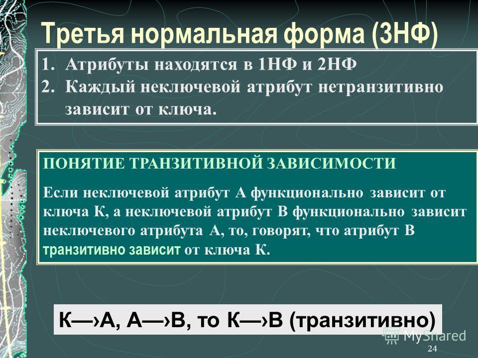 24 Третья нормальная форма (3НФ) 1. Атрибуты находятся в 1НФ и 2НФ 2. Каждый неключевой атрибут нетранзитивно зависит от ключа. ПОНЯТИЕ ТРАНЗИТИВНОЙ ЗАВИСИМОСТИ Если неключевой атрибут А функционально зависит от ключа К, а неключевой атрибут В функци