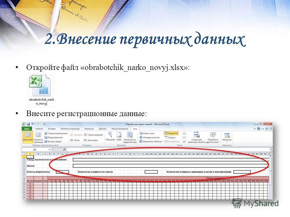 2. Внесение первичных данных Откройте файл «obrabotchik_narko_novyj.xlsx»: Внесите регистрационные данные: