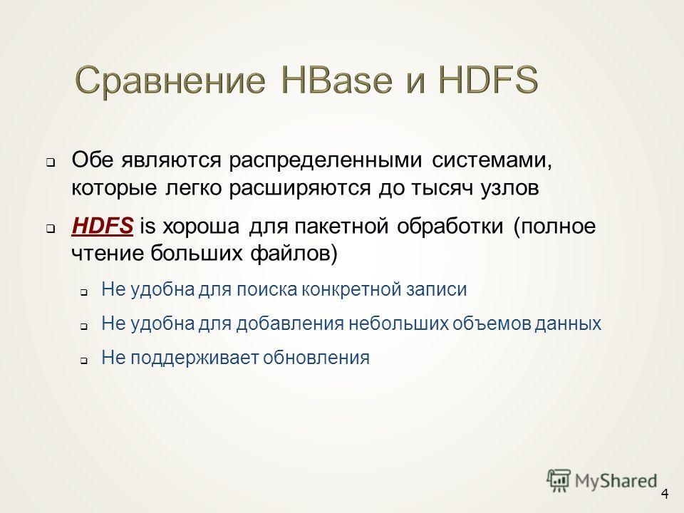 Обе являются распределенными системами, которые легко расширяются до тысяч узлов HDFS is хороша для пакетной обработки (полное чтение больших файлов) Не удобна для поиска конкретной записи Не удобна для добавления небольших объемов данных Не поддержи