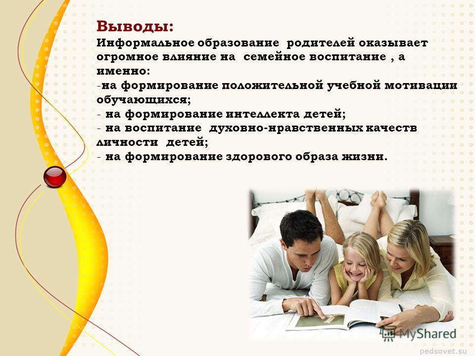 Выводы: Информальное образование родителей оказывает огромное влияние на семейное воспитание, а именно: - на формирование положительной учебной мотивации обучающихся; - на формирование интеллекта детей; - на воспитание духовно-нравственных качеств ли