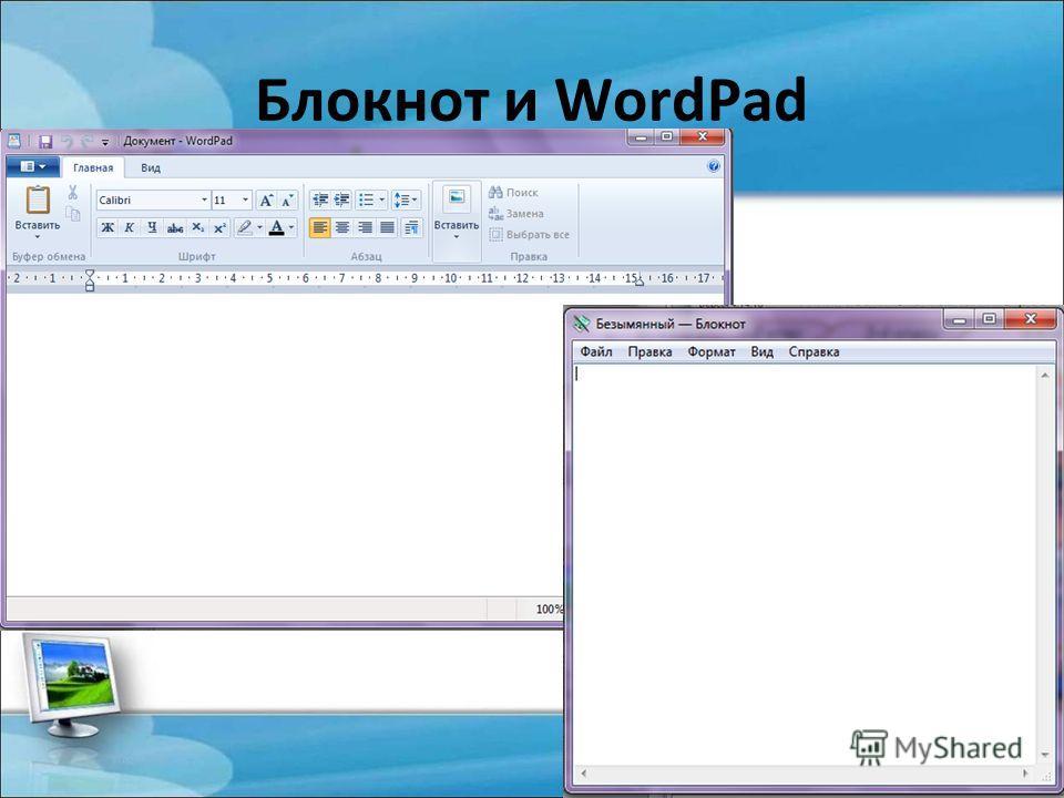 Блокнот и WordPad