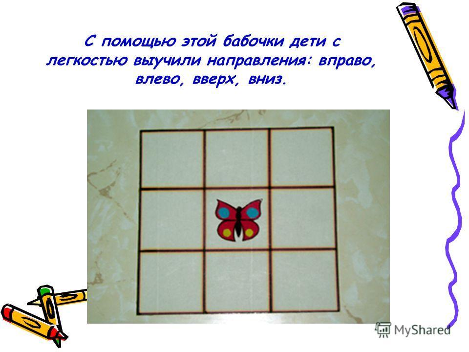 С помощью этой бабочки дети с легкостью выучили направления: вправо, влево, вверх, вниз.